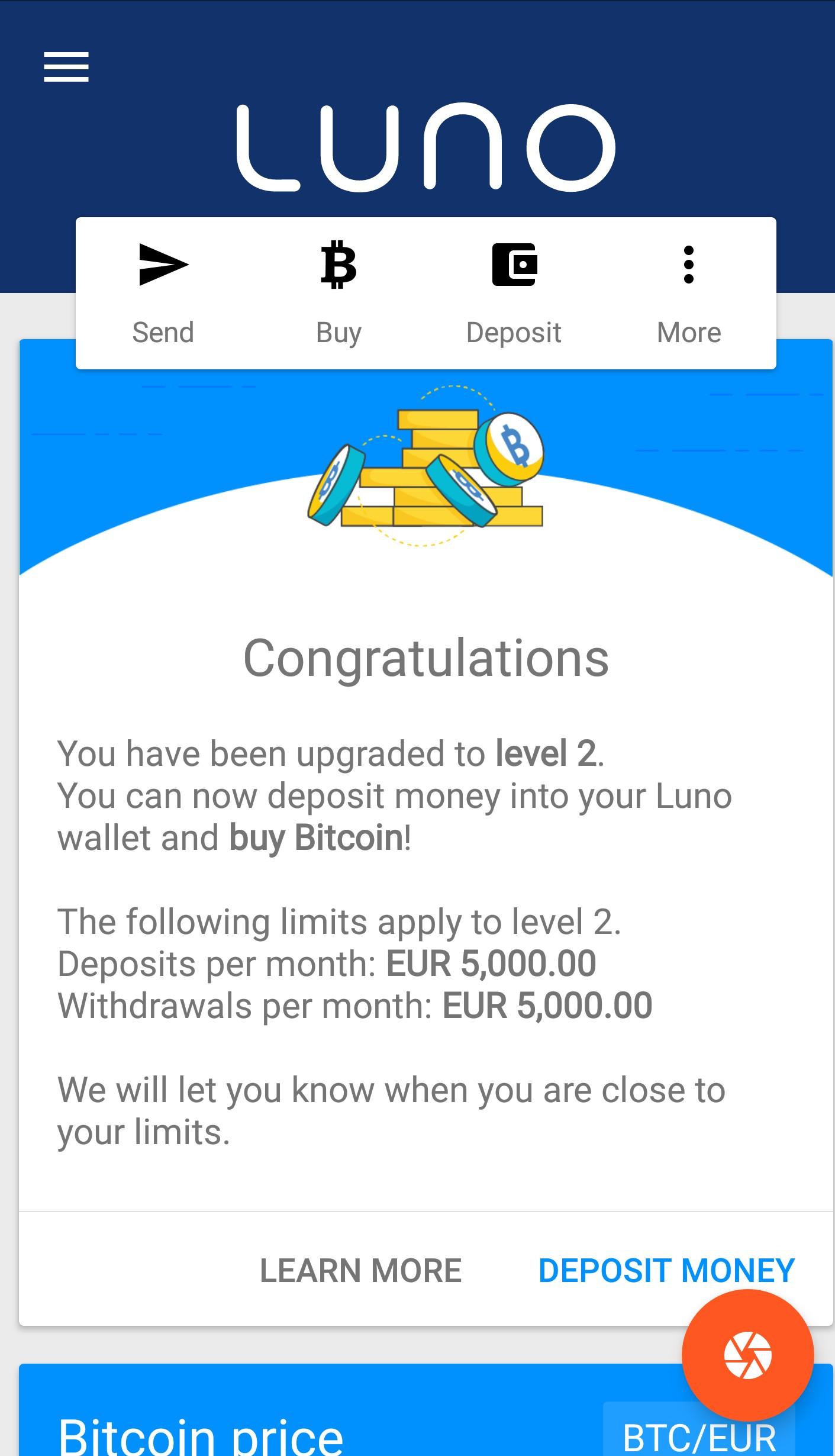 Pranešimas apie tapatybės patvirtinimą Luno mobiliojoje aplikacijoje